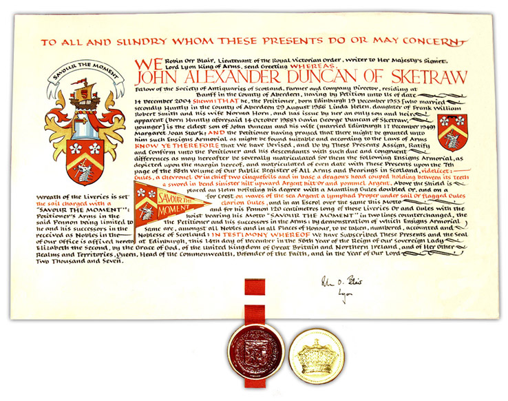 Scottish Grant of a Coat of Arms to John A. Duncan of Sketraw - Click for Larger Image
