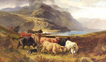 Droving Highland Cattle by Joseph Adam
