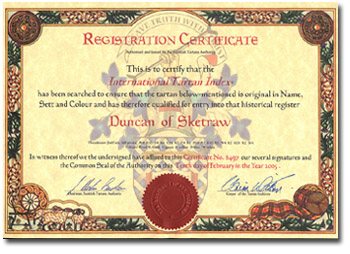 Duncan of Sketraw Tartan Registration Certificate STA - Click Here for Larger Image
