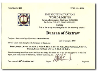 Duncan of Sketraw Tartan Registration Certificate WTR - Click Here for Larger Image